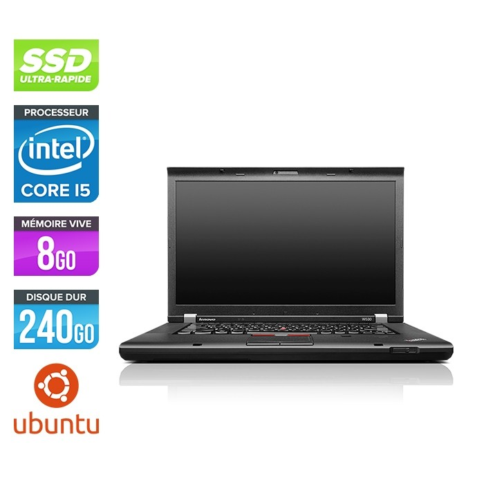 Ordinateur portable reconditionné - Lenovo ThinkPad W530 - i5 - 8 Go - 240 Go SSD - Nvidia K1000M - Ubuntu Linux