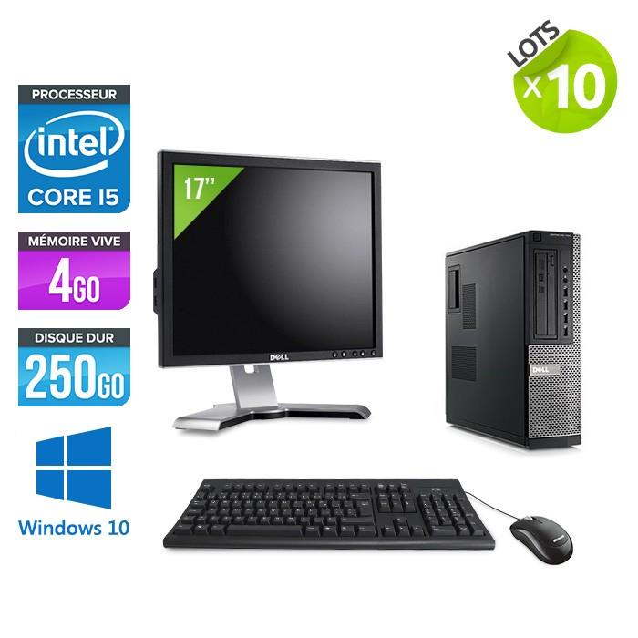 lot de 10 pc occasion dell 790 desktop ecrans 17 39 39 i5 4go 250go windows 10 pro trade. Black Bedroom Furniture Sets. Home Design Ideas