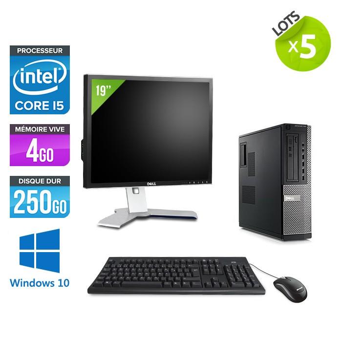 Lot de 5 Dell Optiplex 7010 Desktop + Ecran 19'' - i5 - 4Go - 250Go HDD - Windows 10 Professionnel