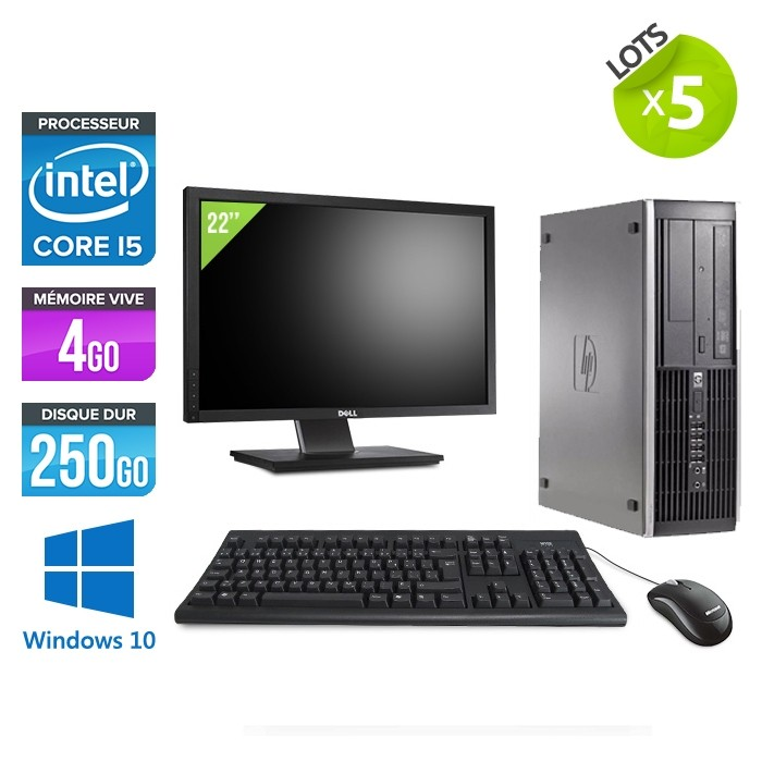 """Lot de 5 HP Elite 8200 SFF - i5 - 4go - 250go - ecran 22"""" - win10"""