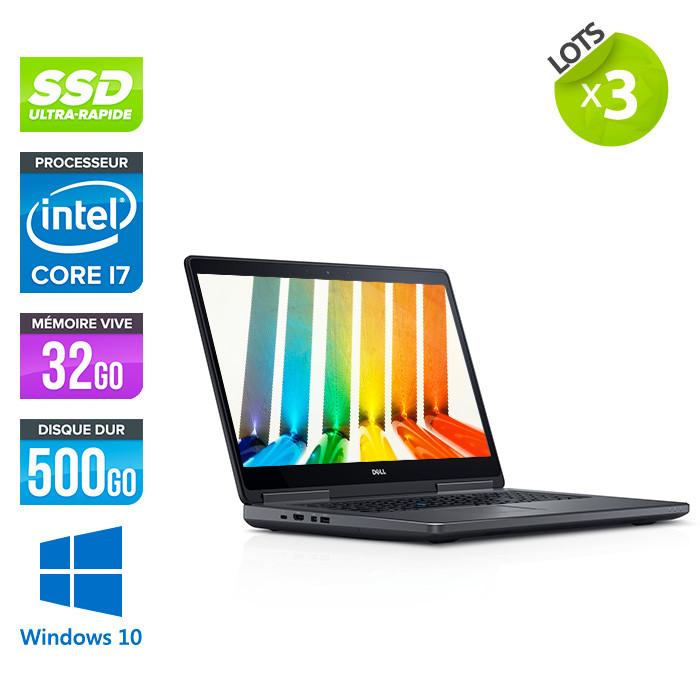 Lot de 3 Dell Precision 7520 - i7 - 32Go DDR4 - 500Go SSD - NVIDIA Quadro M1200M - Windows 10