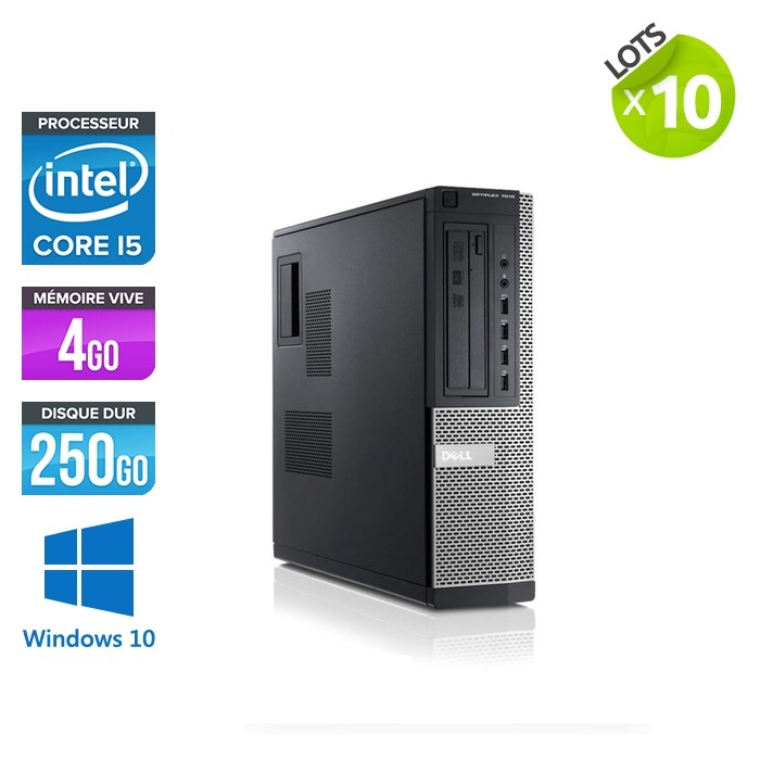lot de 10 Dell Optiplex 7010 Desktop - i5 - 4Go - 250Go HDD - Windows 10