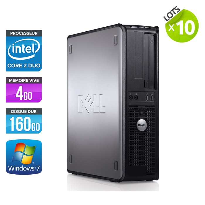 Lot de 10 Dell Optiplex 780 - E7500 - 4Go - 160Go