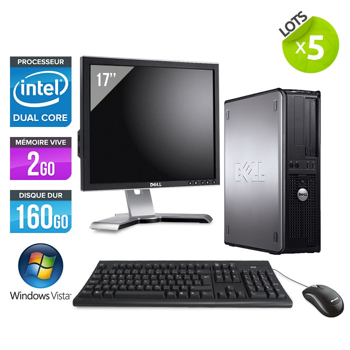 Lot de 5 DELL OPTIPLEX 755 + Ecran TFT 17""