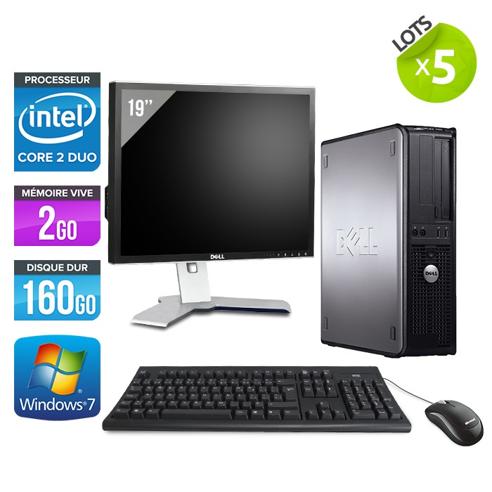 "Lot Dell Optiplex 755 + Ecran TFT 19"" + Clavier + Souris"