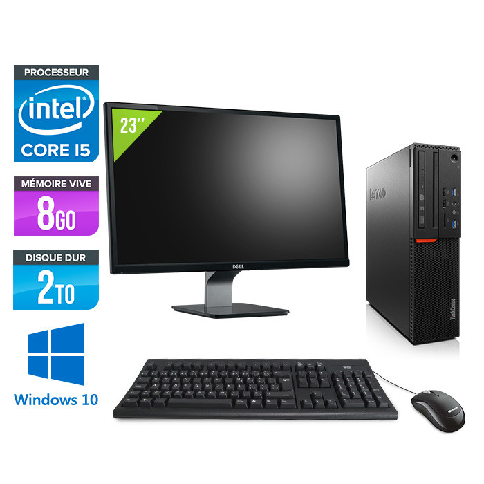 Pack Lenovo ThinkCentre M800 SFF - i5 - 8Go - 2To HDD - Windows 10 - Ecran 23 pouces
