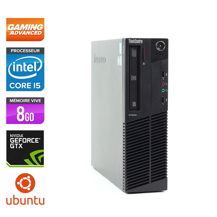 Lenovo ThinkCentre M92P SFF Gamer - i5 3470 - 8 Go - HDD 500 Go - Nvidia GTX1050 - Linux
