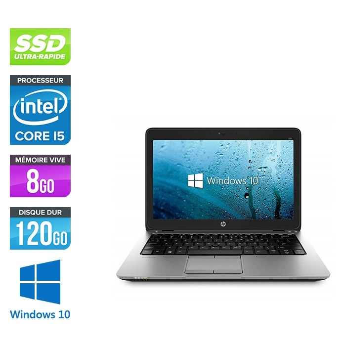 Ordinateur portable reconditionné - HP Elitebook 820 - i5 4200U - 8 Go - SSD 120 Go - Windows 10