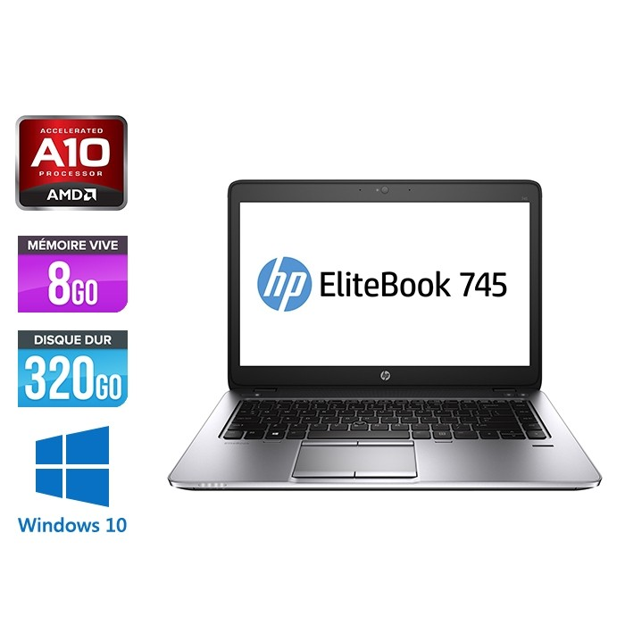 HP Elitebook 745 G2 - AMD10 - 8Go - 320Go HDD - 14'' - Windows 10