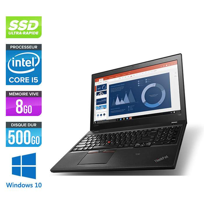 Ordinateur portable - Lenovo ThinkPad T560 - i5 - 8Go - 500Go SSD - HD - Windows 10