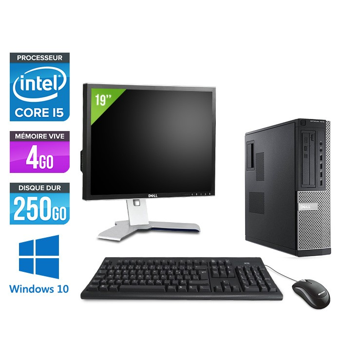 Dell Optiplex 7010 Desktop + Ecran 19'' - Core i5 - 4Go - 250Go - Windows 10