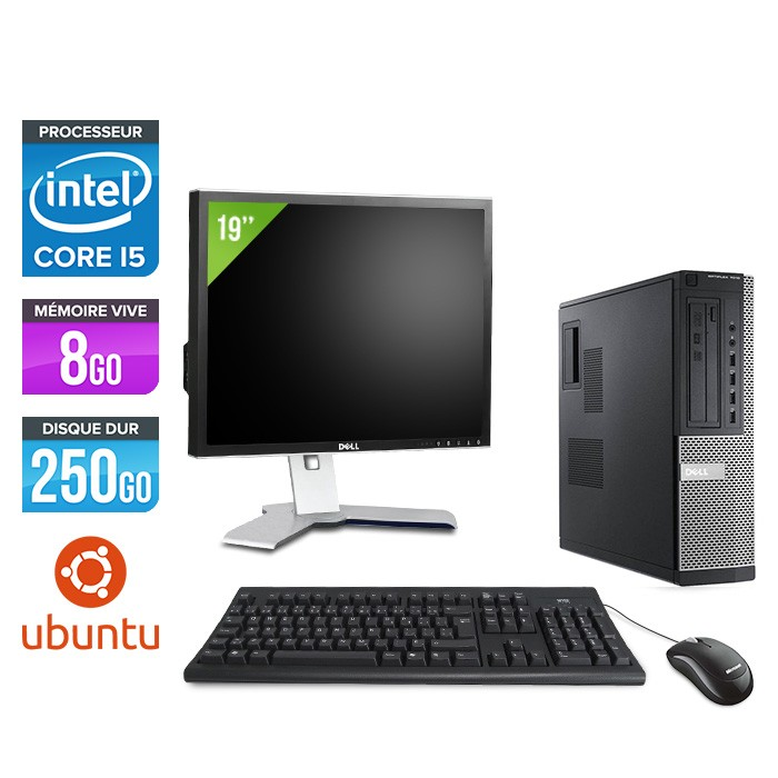Dell Optiplex 7010 Desktop + Ecran 19'' - i5 - 8Go - 250Go - Linux