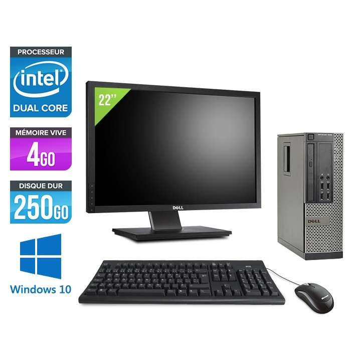 Pack Pc de bureau pro avec écran - Dell Optiplex 7010 SFF reconditionné + Ecran 22'' - Pentium G645 - 4Go - 250Go HDD - Windows 10