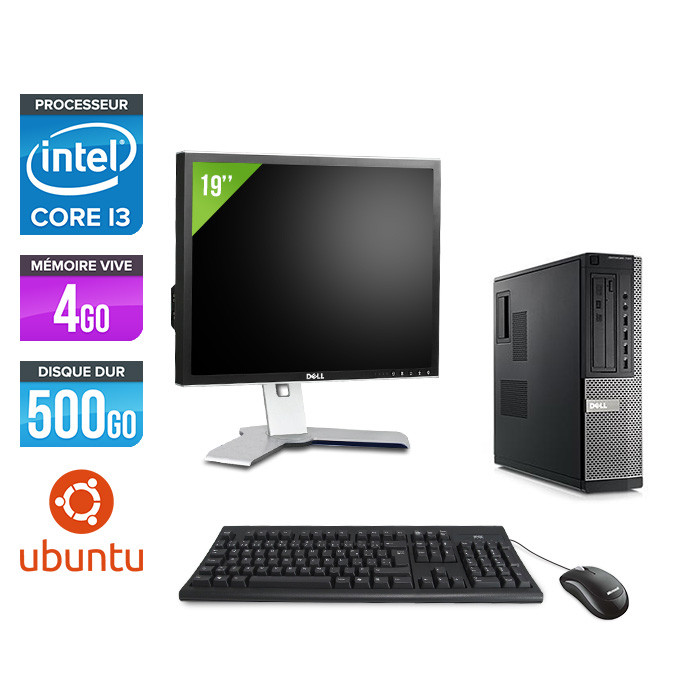 Dell Optiplex 790 Desktop + Ecran 19'' - i3 - 4Go - 500Go HDD - Linux / Ubuntu
