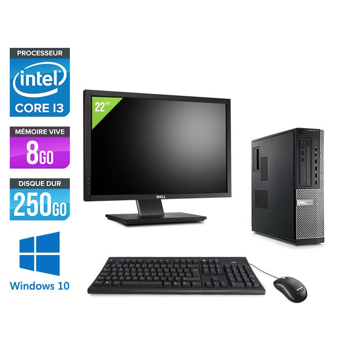 Dell Optiplex 790 Desktop + Ecran 22'' - i3 - 8Go - 250Go HDD - Windows 10