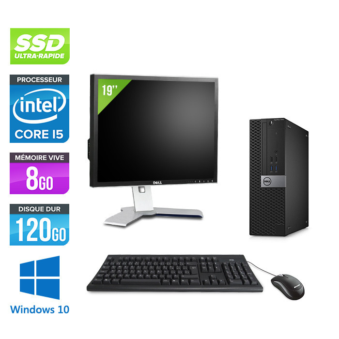 Pack Dell Optiplex 7040 SFF - i5 - 8Go - 120Go SSD - Windows 10 - Ecran 19