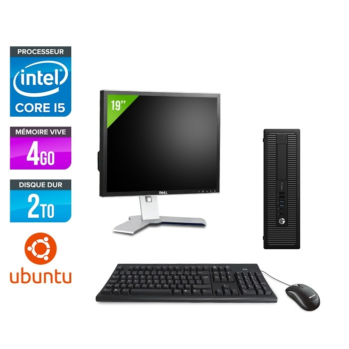 HP ProDesk 600 G2 SFF - i5-6500 - 4Go DDR4 - 2To HDD - linux - ecran 19