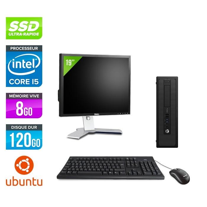 HP ProDesk 600 G2 SFF - i5-6500 - 8Go DDR4 - SSD 120Go - Ubuntu / Linux - ecran 19