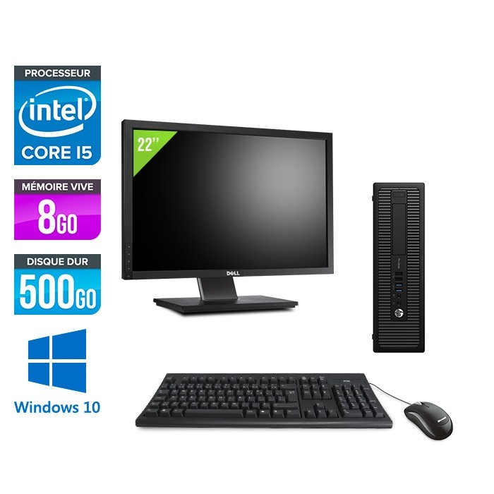 HP ProDesk 600 G2 SFF - i5-6500 - 8Go DDR4 - 500Go HDD - Windows 10 - ecran 22