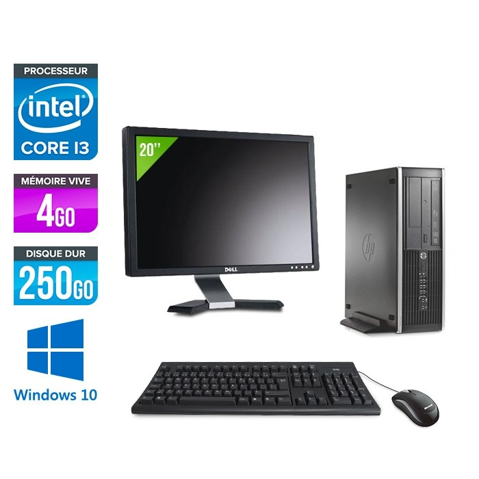 Pack HP 6300 Pro SFF - i3 - 4 Go- 250 Go HDD - Windows 10 + Ecran 20