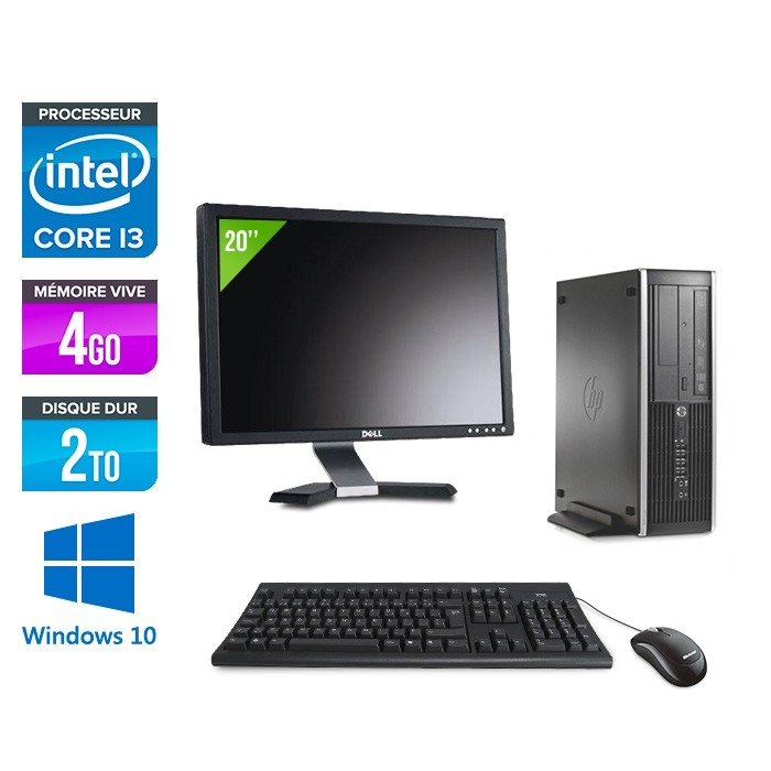 Pack HP 6300 Pro SFF - i3 - 4 Go- 2to HDD - Windows 10 + Ecran 20