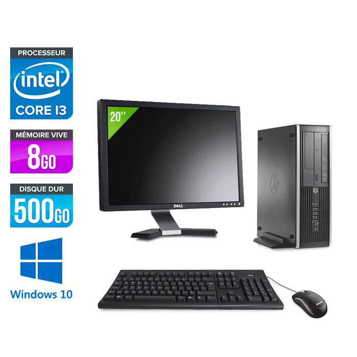 Pack HP 6300 Pro SFF - i3 - 8Go - 500 Go HDD - Windows 10 + Ecran 20