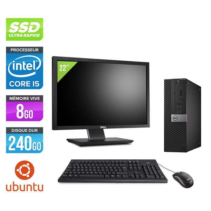 Dell Optiplex 5040 SFF + Ecran 22'' - i5 - 8Go - 240Go SSD - Linux
