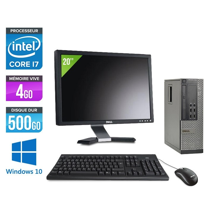 Pack pc bureau Dell Optiplex 7010 SFF + Ecran 20'' - Intel Core i7 - 4Go - 500Go HDD - Windows 10 Famille
