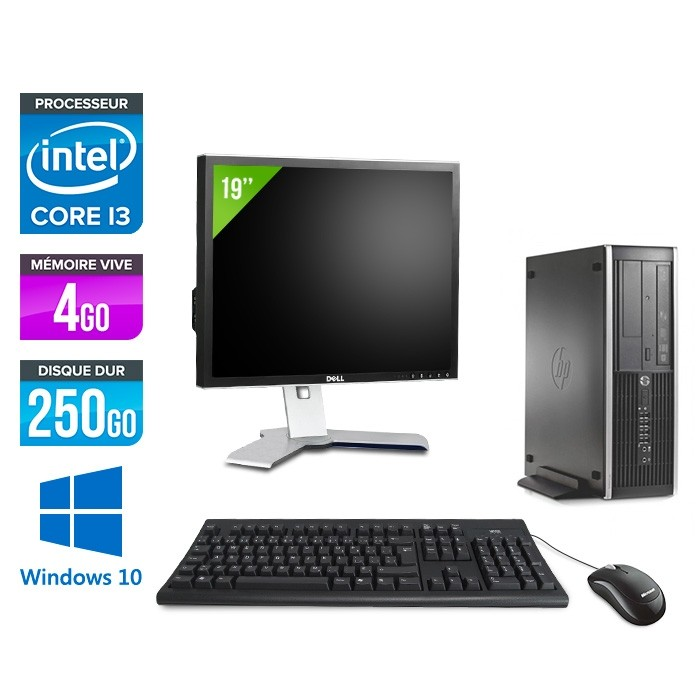 Pack PC bureau HP 6200 PRO SFF - i3 - 4Go - 250Go - Windows 10 - Ecran 19
