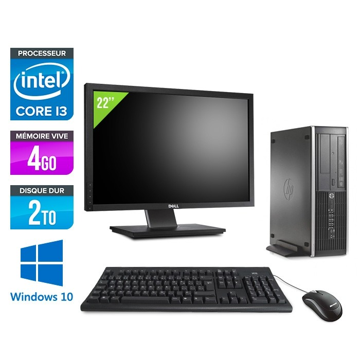 Pack PC bureau HP 6200 PRO SFF - i3 - 4Go - 2To - Windows 10 - Ecran 22