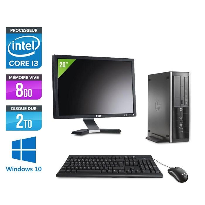 Pack PC bureau HP 6200 PRO SFF - i3 - 8Go - 2To - Windows 10 - Ecran 20