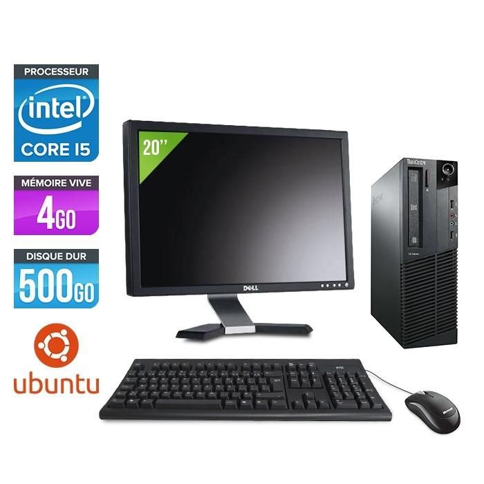 Pack Lenovo ThinkCentre M81 SFF - i5 - 4Go - 500Go HDD - Ecran 20 - Ubuntu / Linux