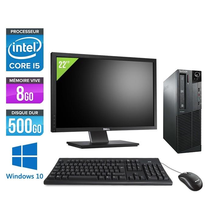 Pack Lenovo ThinkCentre M81 SFF - i5 - 8Go - 500Go HDD - Ecran 22 - WIndows 10