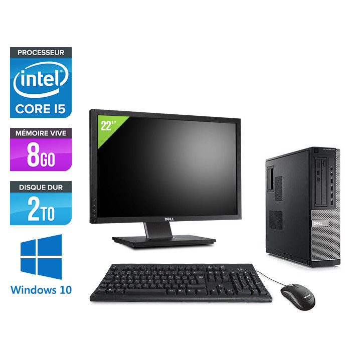 Pc bureau reconditionné - Dell Optiplex 790 Desktop + Ecran 22'' - i5 - 8Go - 2 To HDD - Windows 10