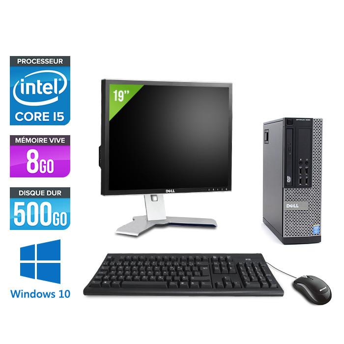 Pack pc de bureau reconditionné avec écran 19 pouces - Dell Optiplex 3010 DT - i3 - 8Go - 500Go HDD - Windows 10
