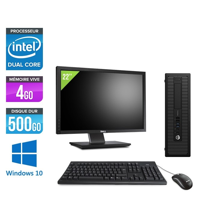 """Pack Ordinateur de bureau + écran 22"""" - HP EliteDesk 800 G1 SFF reconditionné - G3420 - 4Go - 500Go HDD - Windows 10"""