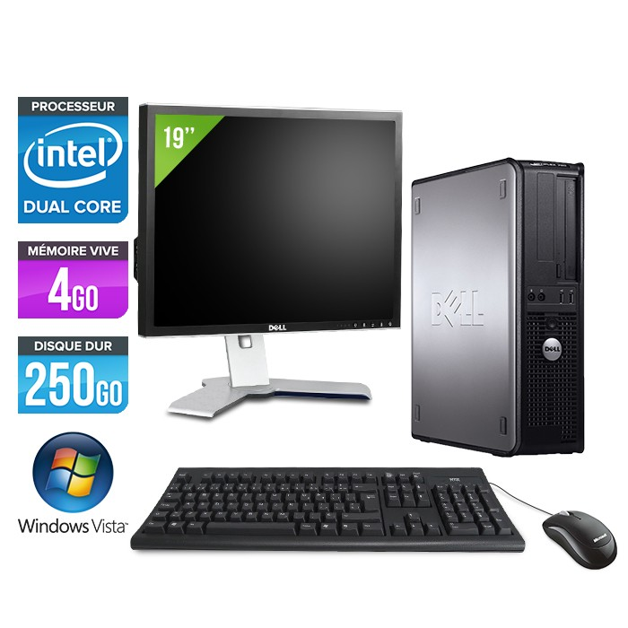 Dell Optiplex 755 - E2160 - 4Go - 250Go + Ecran 19""