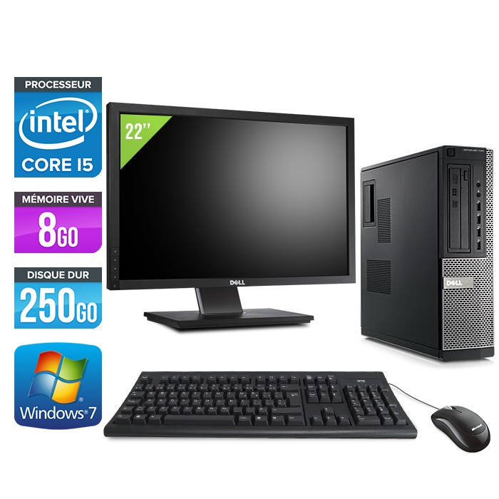 Dell Optiplex 790 Desktop + Ecran 22'' - Core i5 - 8Go - 250Go