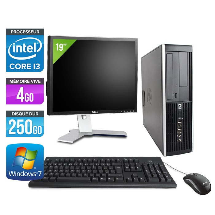 "HP Elite 8200 SFF + Ecran 19"" - Core i3 - 4Go - 250Go"