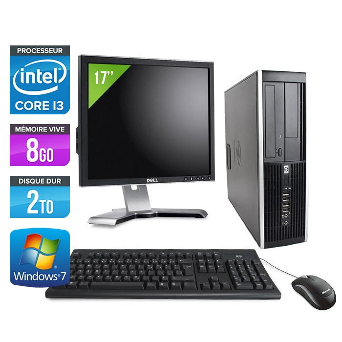 "HP Elite 8200 SFF + Ecran 17"" - Core i3 - 8Go - 2To"