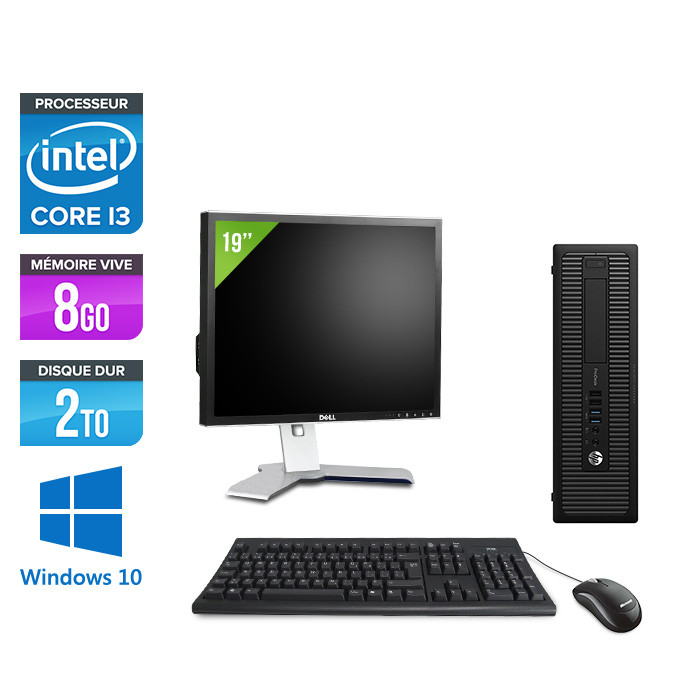 """Pack HP 600 G1 SFF + Écran 19"""" - i3 - 8Go - 2To HDD - W10"""