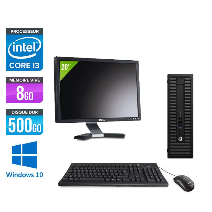 "Pack HP 600 G1 SFF + Écran 20"" - i3 - 8Go - 500 HDD - W10"