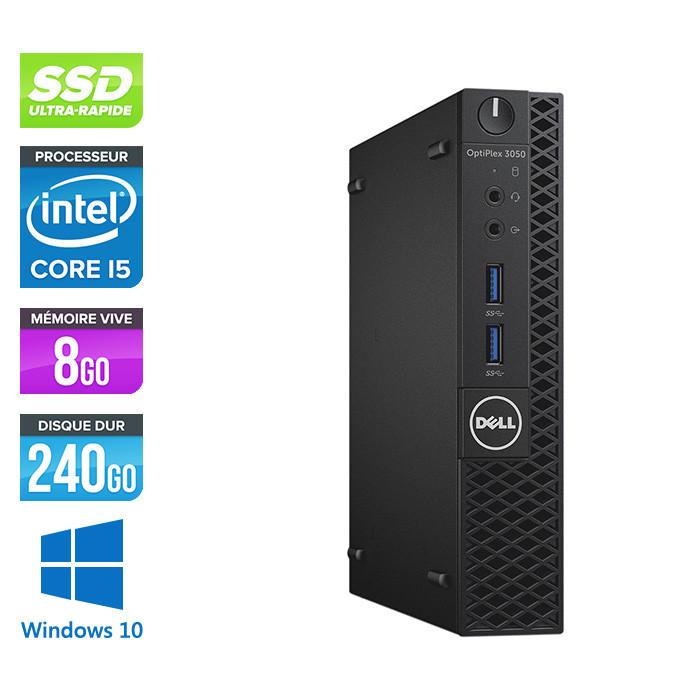Pc de bureau reconditionné - Dell Optiplex 3050 Micro - Intel Core i5-7500T - 8Go - 240Go SSD - W10