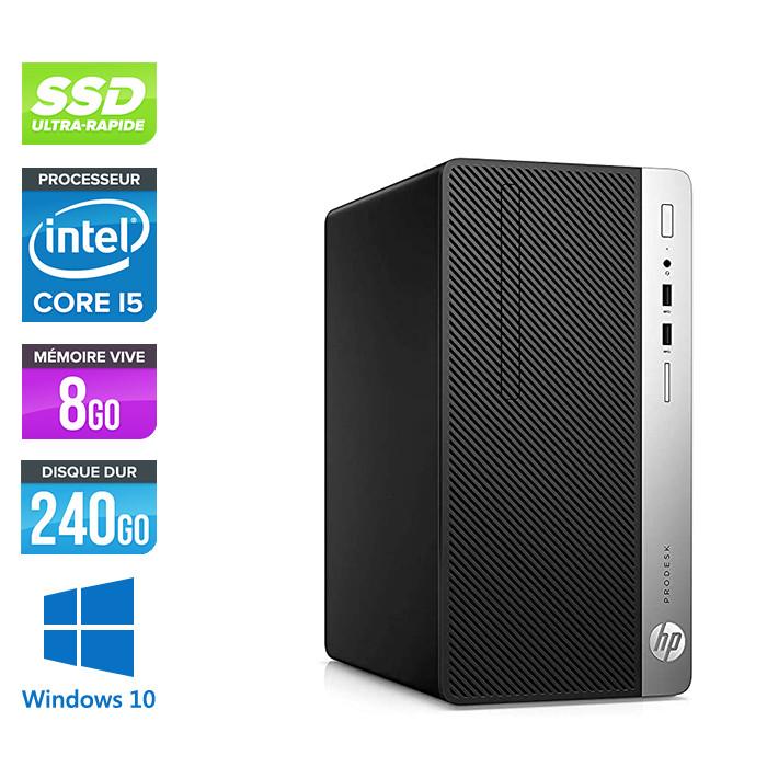 Pc de bureau reconditionné - HP ProDesk 400 G5 Tour - i5 - 8Go - 240Go SSD - W10