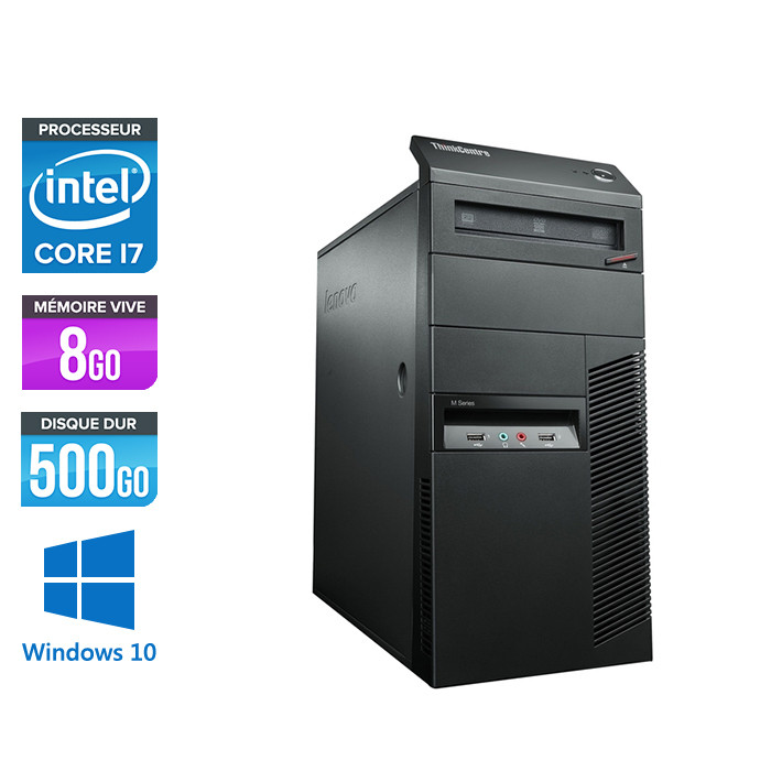 Lenovo ThinkCentre M81 Tour - Intel Core i7 - 8Go - 500Go HDD - Windows 10