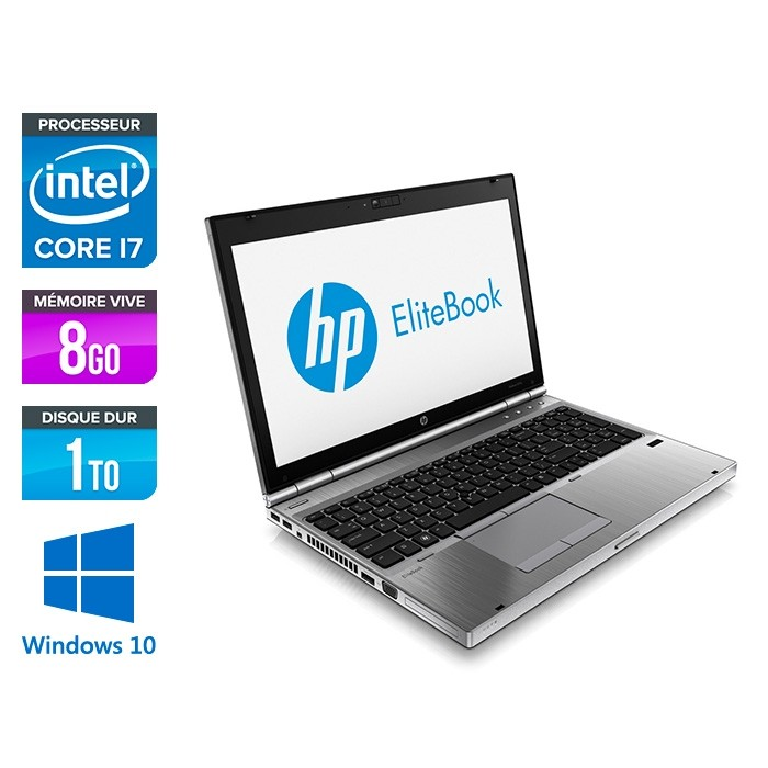 HP EliteBook 8570P - i7 - 8Go - 1To HDD - AMD 7570M - Windows 10
