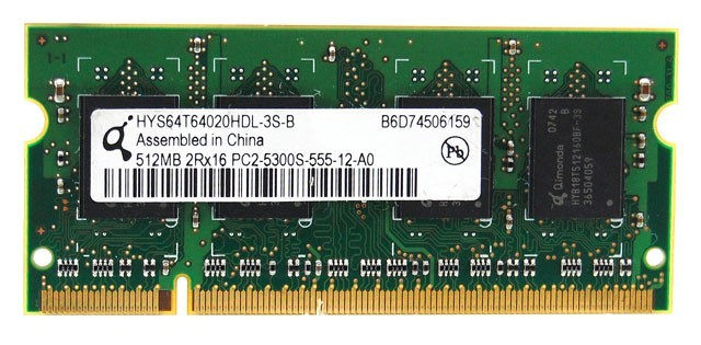 Qimonda - SO-DIMM - 512 MB - DDR2 -  PC2 5300S - 667 Mhz - HYS64T64020HDL-3S-B-3