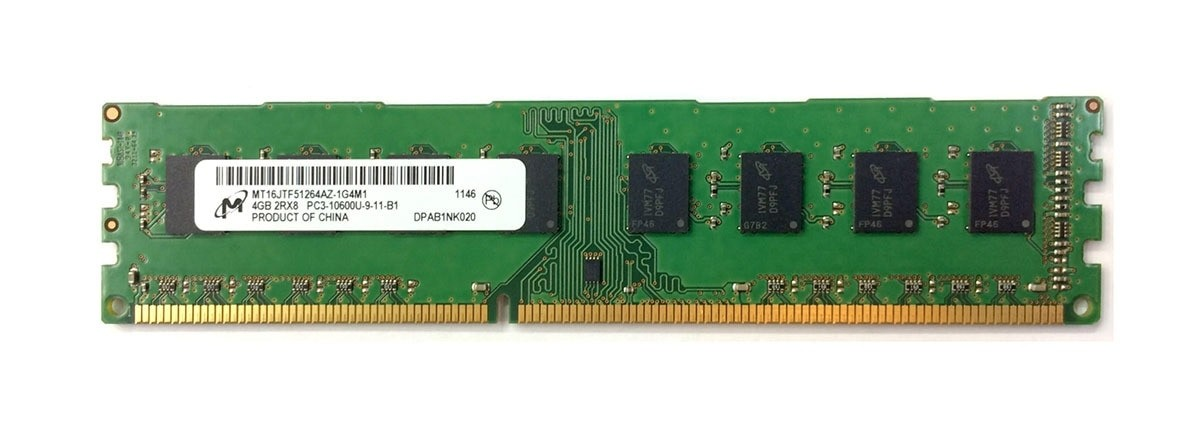 Mémoire Micron DIMM DDR3 PC3-10600u - 4 Go 1333 MHz