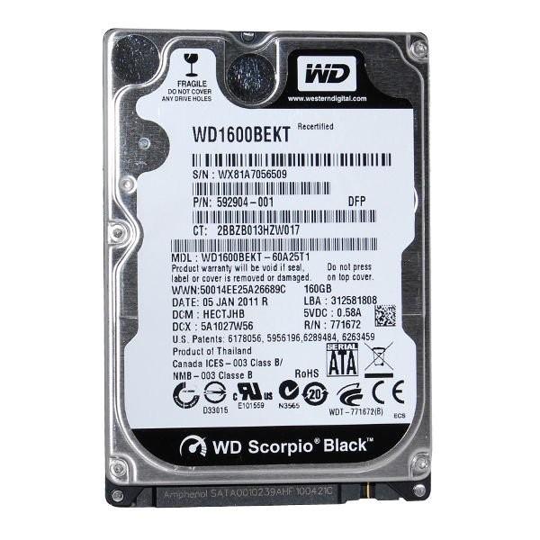 "Western Digital Scorpio Black WD1600BEKT - 2.5"" - 160 Go - SATA II 3Gb/s"