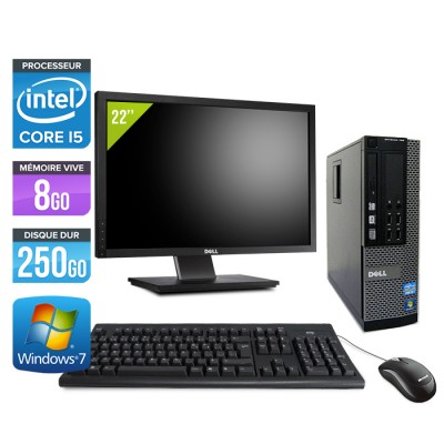 Dell Optiplex 7010 SFF + Ecran 22'' - Core i5 - 8Go - 250Go